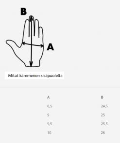heijastavat hanskat mittausohje koko-opas